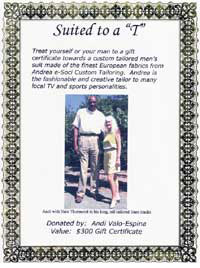 Andrea Custom Tailoring Gift Certificate with Nate Thurmond